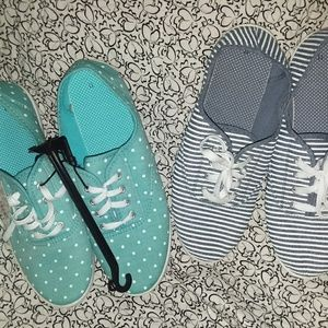 Shoes - 2 pairs tennis shoes 1 striped and 1 dots
